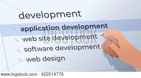 Human Hand Choosing Development In Search Bar On Virtual Screen Application Development Internet Net