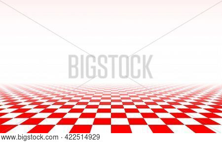 Abstract Checkered Floor In Surreal Interior. Room With No Horizon And Tiled Floor.