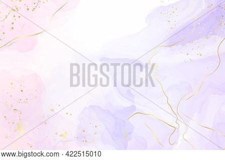 Abstract Two Colored Rose And Lavender Liquid Marble Background With Gold Stripes And Glitter Dust.