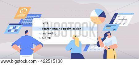 Businesspeople Choosing Seo In Search Bar On Virtual Screen Search Engine Optimization Internet Netw