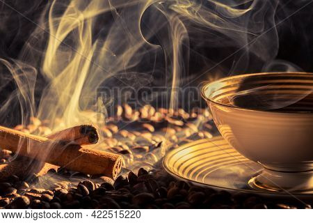 Closeup Of Cinnamon Scent And Roasted Coffee