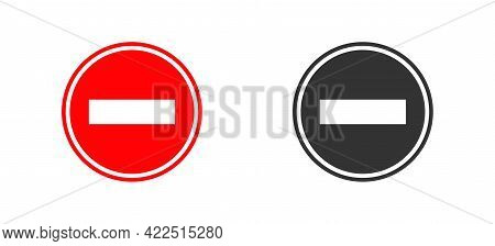 Stop Circle Road Sign. Red And Black Icon In Flat. Isolated Vector