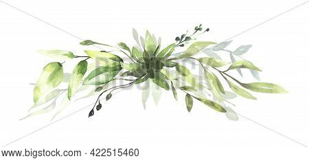Watercolor Floral Illustration Set - Green Eucalyptus Leaf Branches Collection, For Wedding Invitati