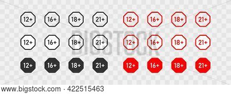 Age Limit. Big Set Icons 12, 16, 18 And 21 Plus. Black Andred Button. Vector Isolated