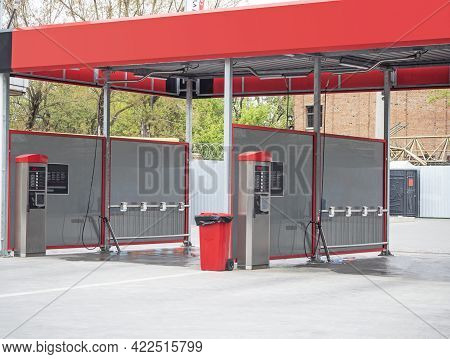 Empty Self Service Automated Car Wash Outdoors