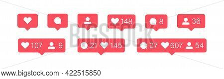 Social Media Bubble Icon. Like, Follower And Comment Set Button. Flat Vector Illustration For Web Ap
