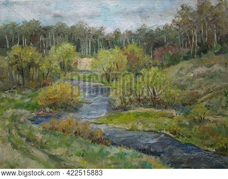 Quick River In May, Spring In Russia, Oil Painting