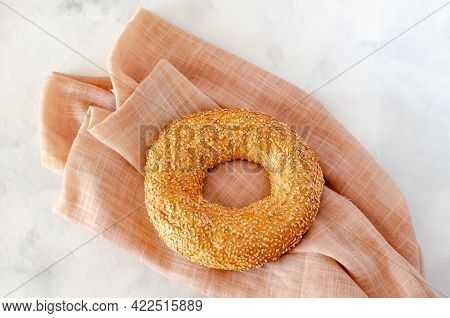 Turkish Bagel Fast Food Simit. Turkish Traditional Pastries With Sesame Seeds. View From Above. Copy