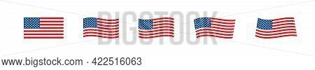 American Usa Flag. Set Icon For National Holiday Illustration. Vector