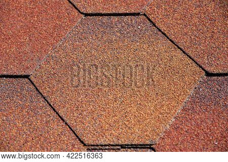 Protective Covering Of Roof With Bitumen Shingles Of Hexagonal Shape Closeup Front View Texture Of R