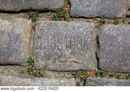 Square Granite Stone Tile Cobblestone Walkway Of Historic Street Of Old Germany City Rock Texture Cl