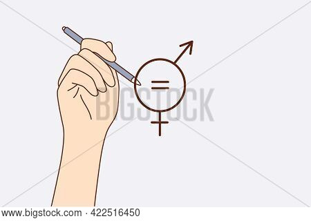 Gender Equality Concept. Human Hand Drawing Equal Sign Inside Of Sign Of Man And Woman Symbols Meani