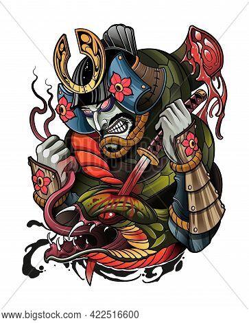 Japanese Samurai Kills A Big Demon Snake