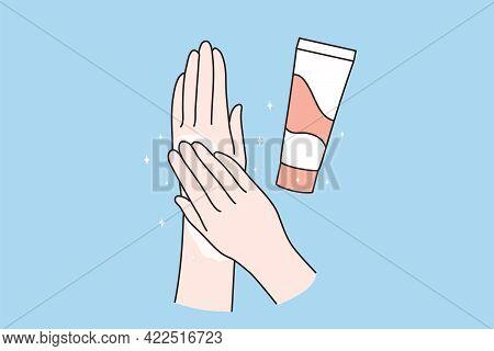 Skincare, Hand Cream Concept. Human Hands Applying Moisturizing Hand Cream For Skincare Treatment Ov