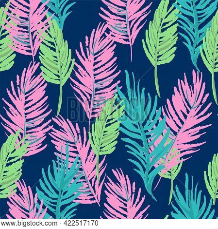 Tropical Palm Leaves Seamless Pattern Jungle Vector Floral Background Print Design For Textiles. Fas