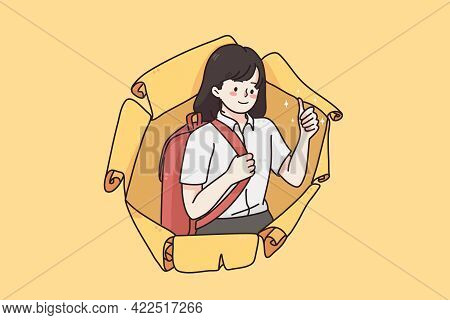 Back To School And Learning Education Concept. Young Happy Positive Schoolchild Girl Looking From Da