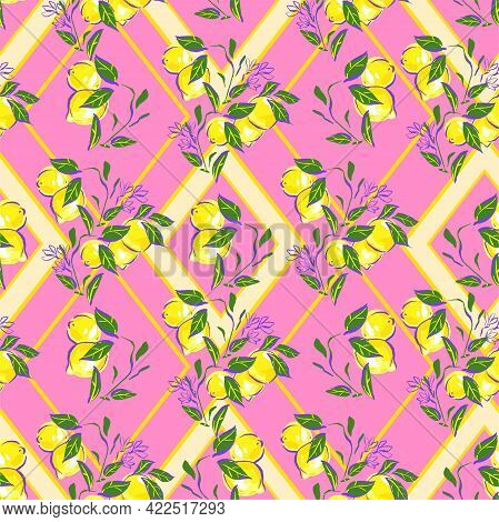 Lemons With Leaves On Background Seamless Pattern. Trend Tropic Design Print For Summer Spring Texti