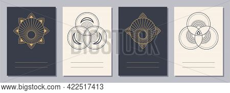 Set Of Flyers, Posters, Placards, Brochure Design Templates A6 Size With Geometric Icons. Symbols Fo