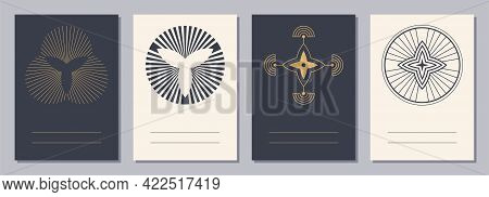 Set Of Flyers, Posters, Placards, Brochure Design Templates A6 Size With Geometric Icons. Sacred, Es