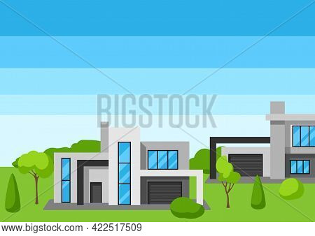 Background With Modern Luxury Houses. Real Estate Cottages.
