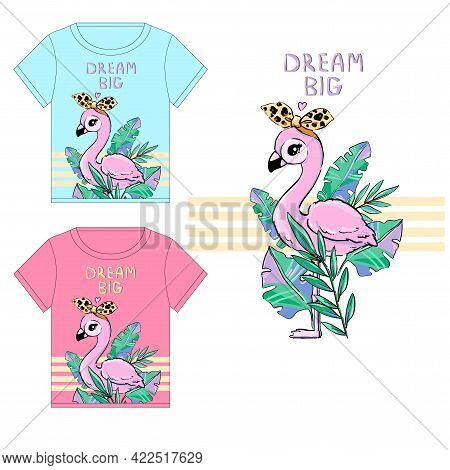Hand Drawn Cute Flamingo With Leopard Bow With Tropical Leaves Summer Print Vector Illustration Time