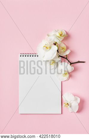 Open Notebook And Orchid Flowers On A Pink Background.  Copy Space.