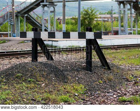 Abandoned Railway Deadlock On The Trans-siberian Railway. Railway Impasse. Signs Of Railway Deadlock