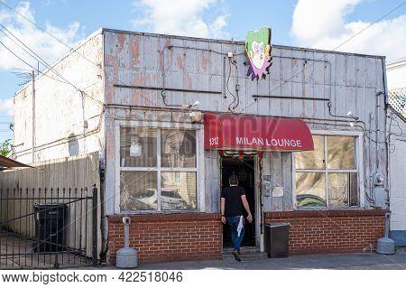 New Orleans, La - December 15: Bartender Enters Milan Lounge Neighborhood Bar On December 15, 2019 I