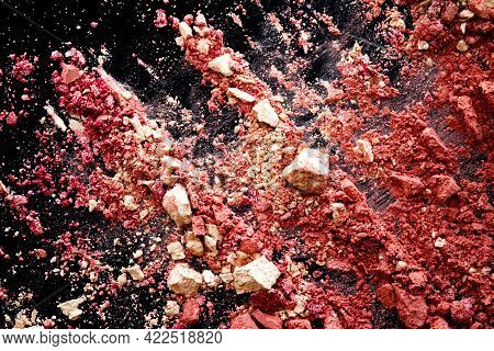 Crushed Cosmetics, Mineral Organic Eyeshadow, Blush And Cosmetic Powder Isolated On Black Background