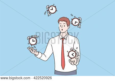 Successful Time Management Concept. Young Business Man Cartoon Character Successfully Juggling Manag