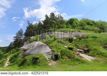 Fabulous Rocks With Entrances. The Village Of Dubrova.