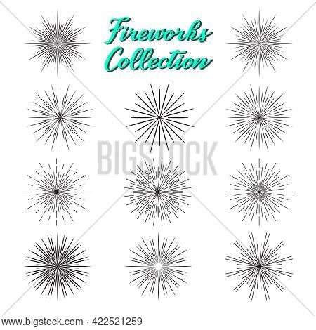 Fireworks Silhouette Black Icons Collection. Holiday And Party Celebration Explosion, Festival Or Ca