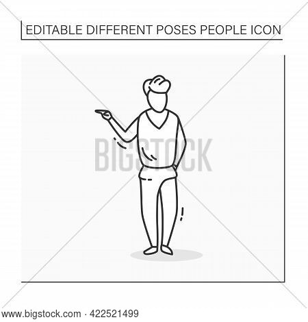 Person Pose Line Icon. Man Standing Straight, Points To Left, Holds Other Hand In Pocket. Looking Di