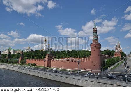 Moscow Kremlin. View Of The Kremlin Towers. Moscow, Russia, May 22, 2021.