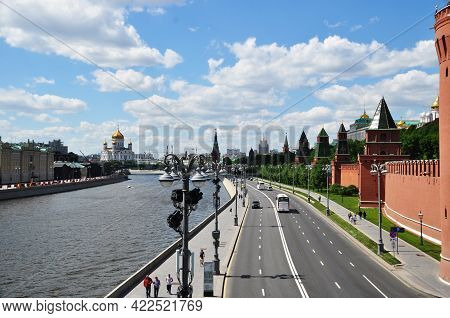 Embankment Of The Moscow Kremlin, River. And The Cathedral Of Christ The Savior. Moscow, Russia, May