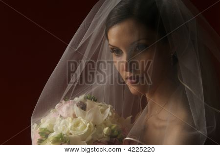A Veiled Bride With Her Bouquet