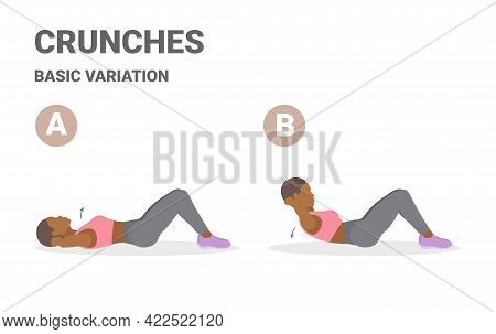 Black Girl Doing Crunch Home Workout Exercise Guidance. African American Girl Working On Her Abs.