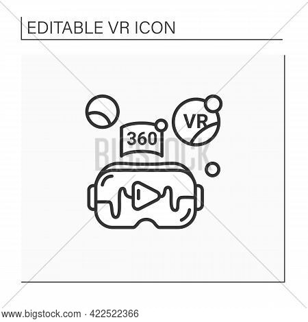 Virtual Reality Video Line Icon. Watching Real-life Video, Immerse Into Virtual Reality With High Qu