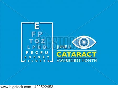 Vector Illustration Of Cataract Awareness Month Observed In June, It Is A Dense, Cloudy Area That Fo