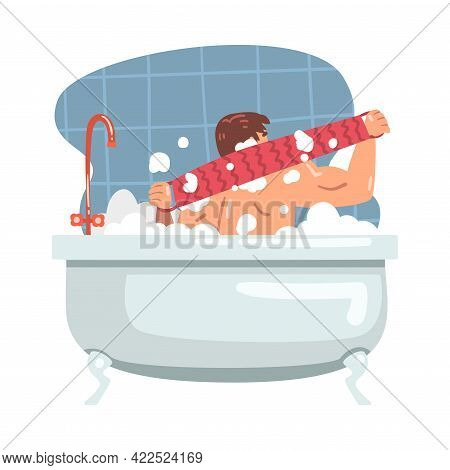 Young Male Bathing In The Bathtub Washing Her Body With Soap And Shower Puff Vector Illustration