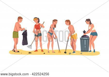 Volunteer Collecting Trash On Beach, Ecology Protection Concept Cartoon Vector Illustration