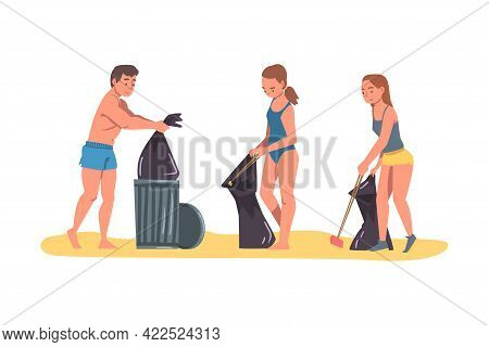 Volunteers Collecting Trash On Beach, Man And Women Cleaning Beach From Garbage, Ecology Protection