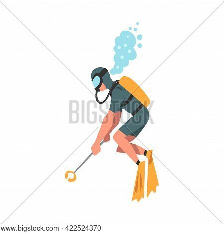 Scuba Diver Collecting Trash In Ocean, Ecology Protection Concept, Volunteer Cleaning Up Wastes Cart