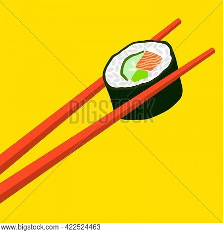 Chinese Sticks And Japanese Rolls. Vector Illustration On Yellow Background