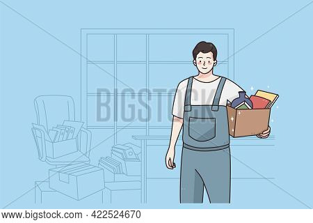 Repairman And Workman Concept. Young Smiling Man Cartoon Character Standing With Box Of Tools Workin