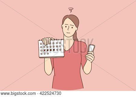 Women Hygiene Concept. Dissatisfied Woman Cartoon Character Holding Menstruation Sanitary Soft Pad,