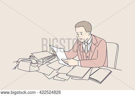 Debts, Loss Of Job, Bankrupt Concept. Young Frustrated Businessmen Cartoon Character Sitting Reading