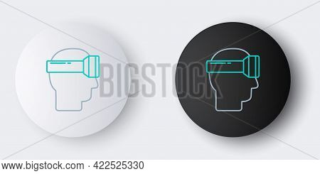 Line Virtual Reality Glasses Icon Isolated On Grey Background. Stereoscopic 3d Vr Mask. Colorful Out