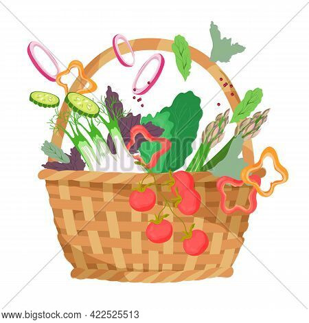 Picnic Basket With Food For Summer Outdoor Recreation, Flat Vector Illustration Isolated On White Ba