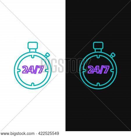 Line Stopwatch 24 Hours Icon Isolated On White And Black Background. All Day Cyclic Icon. 24 Hours S